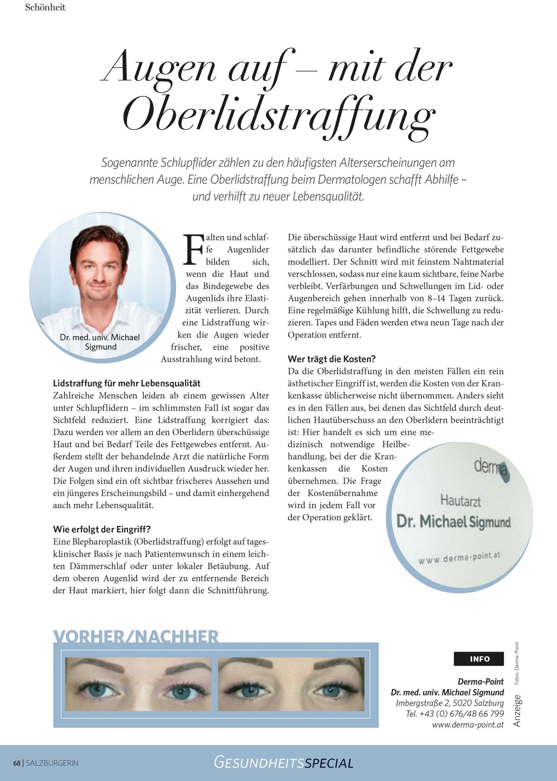 Artikel von Dr. Michael Siegmund HAutarzt in Salzburg - in Die Salzburgerin